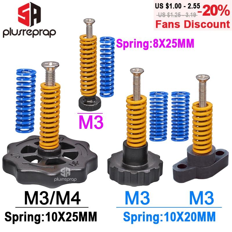 4PCS M3/M4 Screws Nuts Heat Bed Leveling Spring Knob Parts 3D Printers Print Platform Screw Calibration Accessories