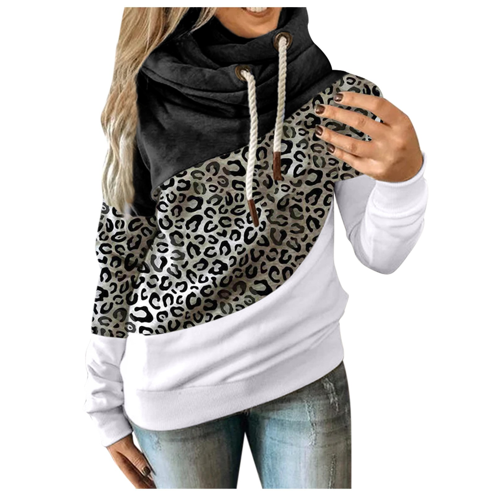 Hot Sale Women Casual Solid Contrast Long Sleeve Hoodie Sweatshirt Patchwork Printed Tops Sudaderas Mujer 2020 F Fast Ship 12