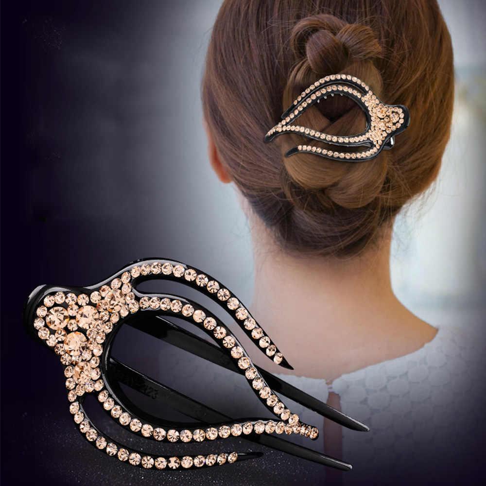 Mode strass épingles à cheveux Barrettes grande taille bec de canard disque pinces à cheveux pour les femmes printemps cheveux griffe accessoires de cheveux