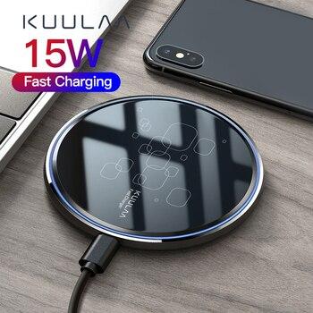 KUULAA 15W Qi Wireless Charger For Xiaomi Mi 9 Pro Mirror Wireless Charging Pad Fast Charger For iPhone 11 X XS Max XR 8 Plus 15w fast charge 2 in 1 wireless charger for iphone 11 pro xs max xr x qi fast wireless charging pad for airpods pro 1 2 charger