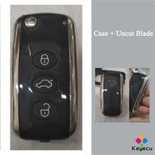 KEYECU Smart Flip składany zdalnie sterowanym samochodowym obudowa kluczyka obudowa z 3 przyciskami-FOB dla Volkswagen Phaeton przed 2015 rokiem tanie tanio CN (pochodzenie) 3 buttons ABS+Metal China smart flip remote key shell for Volkswagen Phaeton Before 2015 year