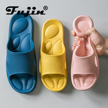 Fujin Nieuwe Slippers Schoenen Vrouwen Zomer Indoor Dikke Bodem Ultra Stretch Paar Slippers Badkamer Antislip Massage Slippers(China)
