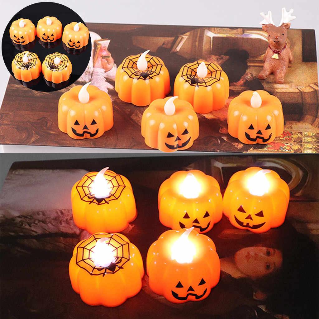 ליל כל הקדושים קישוט LED דלעת אור מהבהב LED אור Flameless נר מיוחד מסיבת בית אימה פנס אספקה #0916