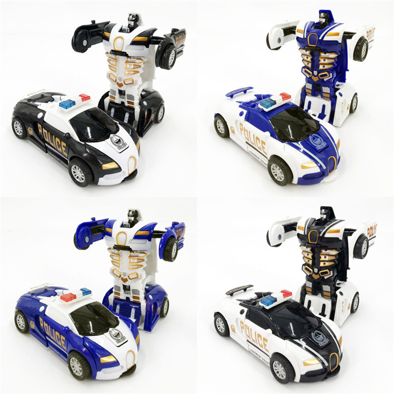 One-key Automatic Transform Robot Car Model Toy For Boys Children Plastic Funny Action Figures Deformation Vehicles Cars Kid