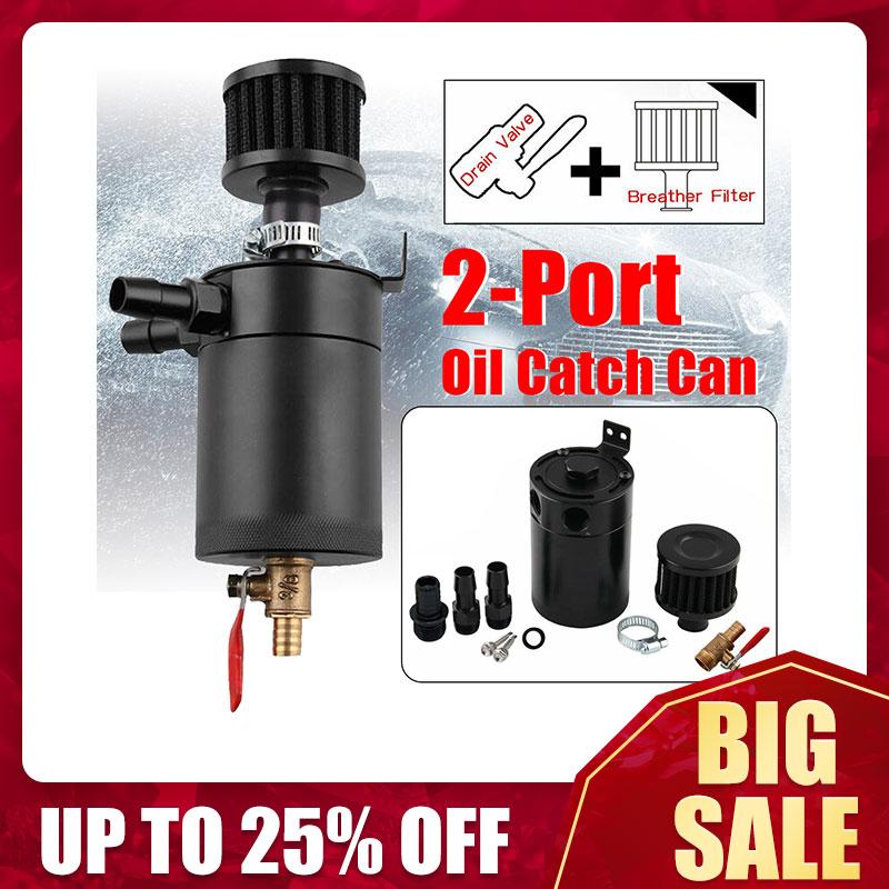 Universele 2-Poort Olie Catch Can Tank Reservoir Met Aftapkraan Breather Filter Compact Verbijsterd Aluminium Olie Catch Brandstof tank Deel
