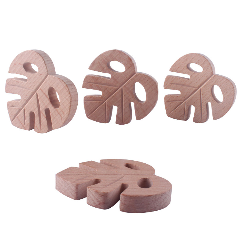 Baby Wooden Teethers Leaves Shape Latex Free Beech Wooden Baby Teethers Toys DIY Pendants For Making Necklace