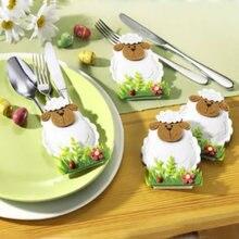 4 unids/set feliz Pascua decoraciones para el hogar cuchillo de oveja y bolsas para Tenedor cubiertas para vajilla bolsas Pascua decoración wielkanoc cubre de Pascua