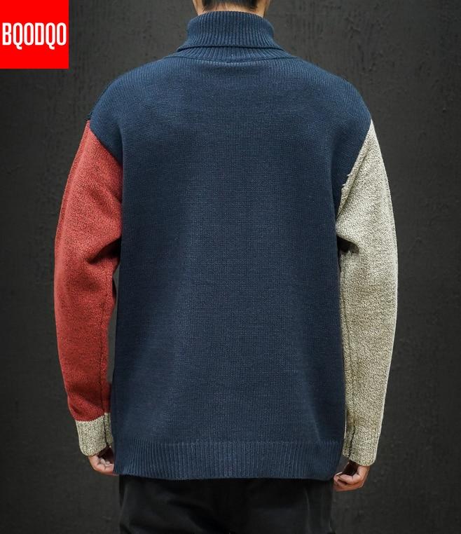 Allentato Knit Maglione Del Progettista di Inverno Degli Uomini di 5XL Dolcevita Autunno Patchwork Streetwear Pullover di Modo Casual Mens Coreano Maglie E Maglioni