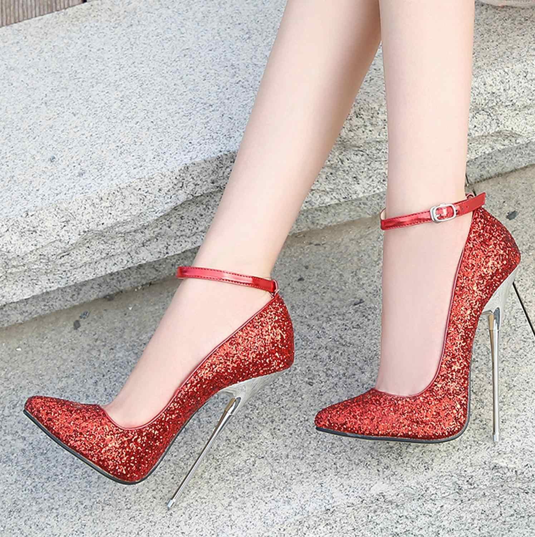 Ekstremalne 16cm szpilki damskie buty duże rozmiary 46 kobiet buty pompy pokaż modelowanie Bling buty ślubne na cienkim obcasie moda 2020 nowe