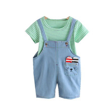 New Summer Baby Girl Clothes Suit Children Boys Cotton Striped T Shirt Overalls 2Pcs/set Toddler Fashion Clothing Kids Tracksuit summer baby toddler girl clothes t shirt skirts kids clothes sports suit for girls clothes 2pcs set children clothing 3 7 year