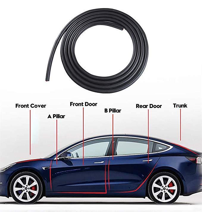 6 Pcs Dianteira/Traseira Caminhão AB Pilar Da Porta Tira Do Selo de Tempo de Borracha À Prova de Som de Redução de Ruído de Vento Kit Para Tesla modelo 3