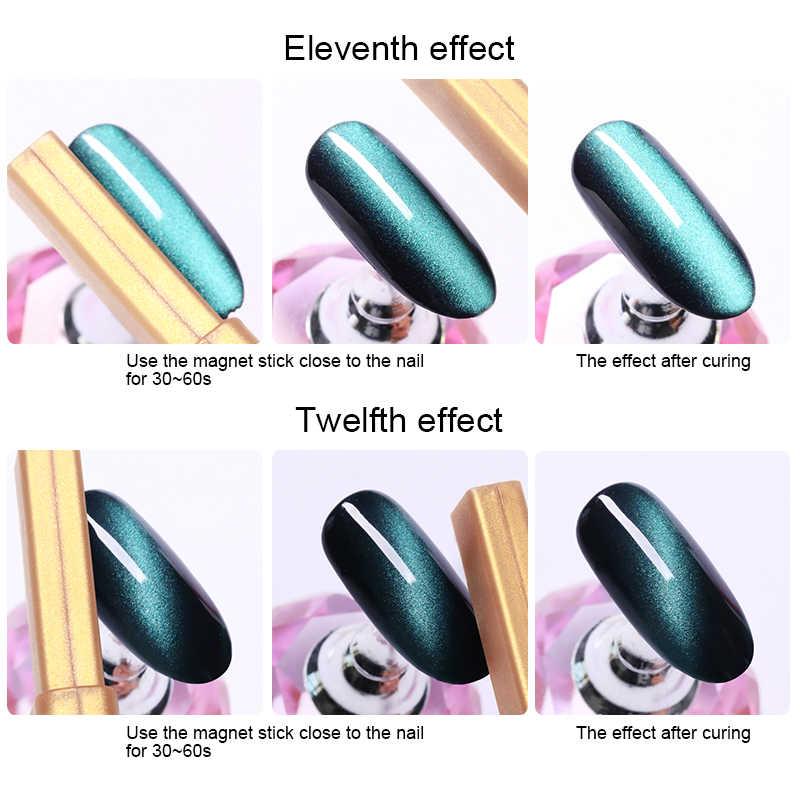 Placa magnética de Gel de ojo de gato de oro palo de imán fuerte grueso para esmalte de Gel UV manicura herramienta de Arte de uñas
