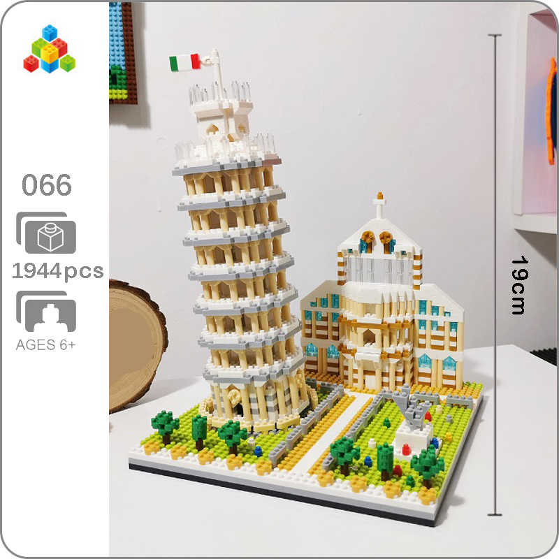 City Building Blocks Tower of Pisa World famous Building models Bricks toy gift