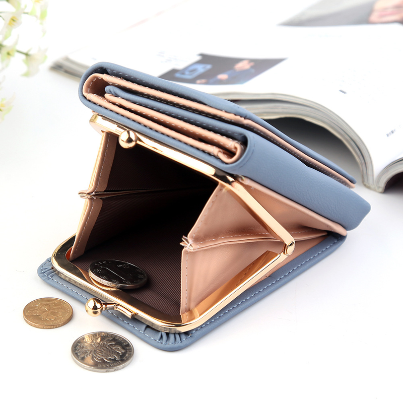 Wallet Women 2021 Lady Short Women Wallets Black Red Color Mini Money Purses Small Fold PU Leather Female Coin Purse Card Holder