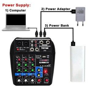 Image 4 - Mới A4 Đa Năng Trộn Âm Thanh Có Bluetooth Ghi 4 Kênh Đầu Vào Mic Lắp Stereo USB Trộn Âm Thanh