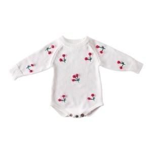 Image 3 - תינוקת Romper סתיו יילוד תינוק Romper ארוך שרוול סרוג תינוק בגדי כותנה דובדבן תינוקות תינוק סרבל ילדה בגדים