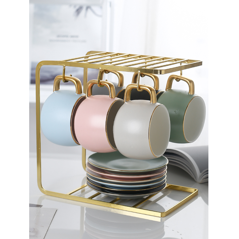 Nordic Ceramic Coffee Cup Set Six-color Frosted Tea Cup Set Saucer And Spoon Tea Party Home Office Cafe Fun Gifts Cups