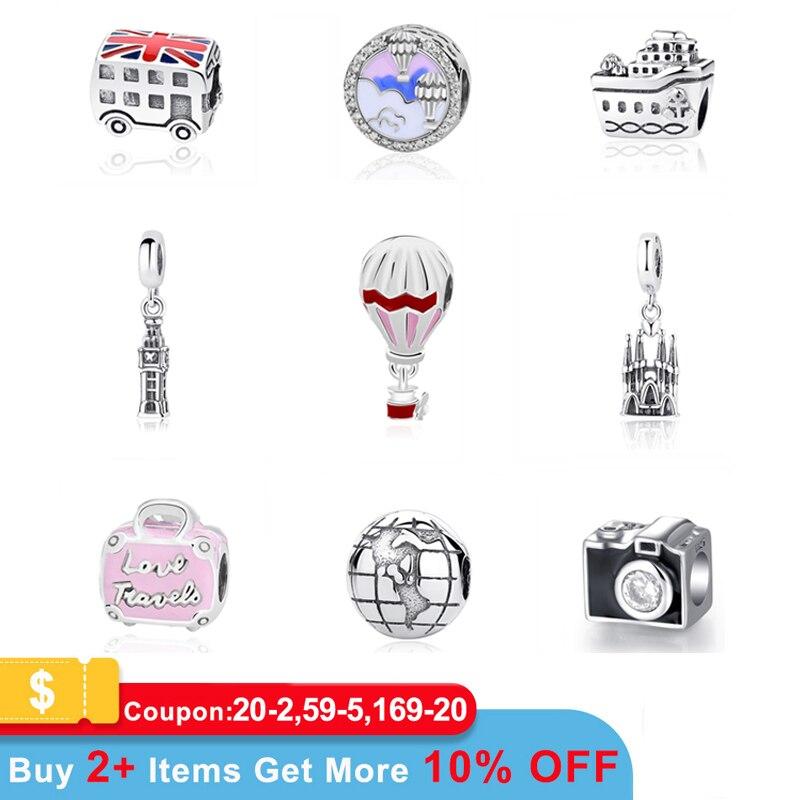Original 100% 925 Sterling Silver Bead Charme Fit Pandora Pulseiras Amor Viagem Palmeira Torre Eiffel Charms Mulheres Jóias Diy