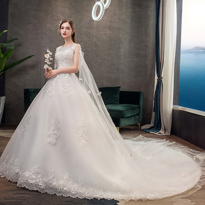 Image 4 - Moda luz vestido de casamento 2020 novo luxo longo trem real estrela francesa noiva super fada floresta sonho casamento vestido fantasia fio