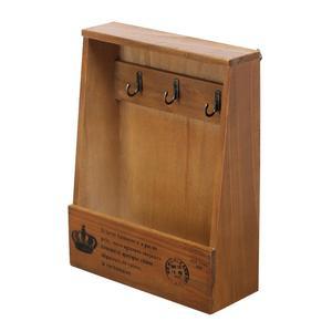 Image 3 - Retro Wandmontage Opbergdoos Houten Box Organizer Key Opknoping Haken Mail Opbergdoos Kleine Voorwerpen Plank Opknoping Mand