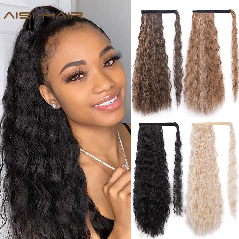 AISI HAIR Corn Wavy Long Ponytail Synthetic Hairpiece Wrap On Clip Hair Extensions Ombre Brown Pony Tail Blonde Fack Hair