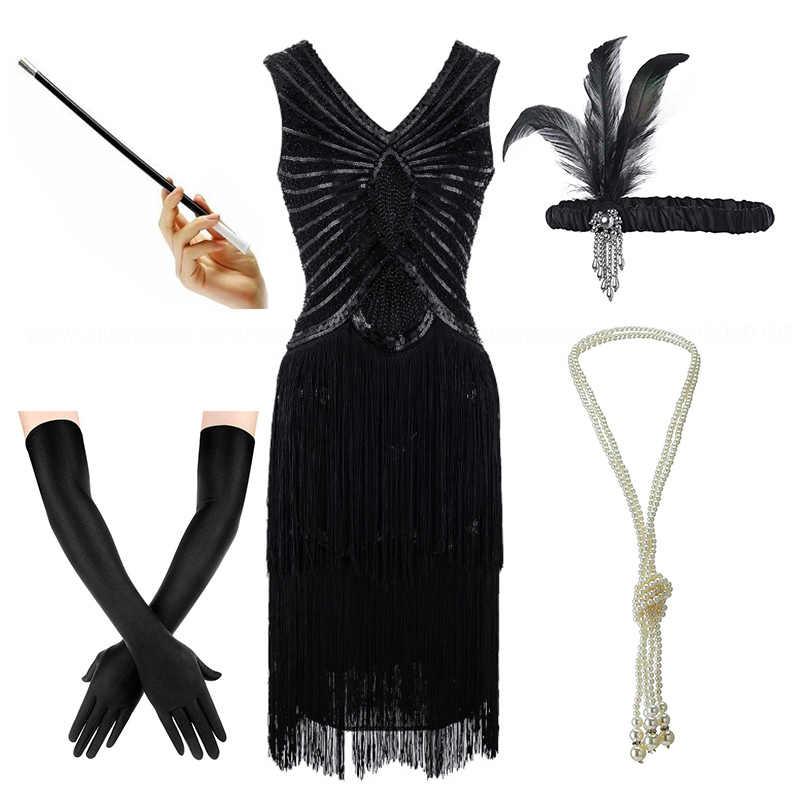 Women\'s Plus Size Gatsby Sequin Art Deco Black Flapper Dresses 1920s V Neck  Beaded Fringed Great Gatsby Dress