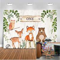 Dzikie jedno tło dla Photo Studio nowonarodzone dziecko prysznic Woodland Party dekoracja tła Banner deser stół tło