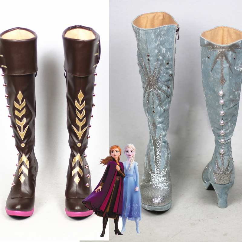 2020 New Snow Queen Prince  Anna  Elsa Cosplay Shoes Anime Boots Tailor-Made