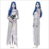 Halloween Scary Bride Dress Elegant Princess Vampire Cosplay Costumes Skeleton Lace Up Masquerade Zombie Witch Vestido