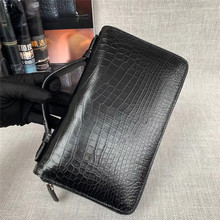 Business Style Authentic Exotic Alligator Skin Men's Clutch Purse Genuine Crocodile Leather Male Large Card Holders Handy bag