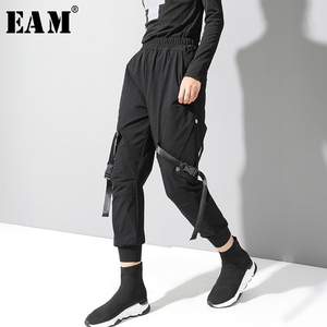 [EAM] High Elastic Waist Black Buckle Split Joint HaremTrousers New Loose Fit Pants Women Fashion Tide Spring Autumn 2020 1N787
