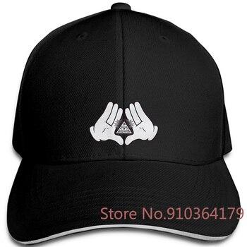 Manos de dibujos animados illuminati todo ver ojo en una pirámide marca Harajuku Hipster Fe ajustable gorras de béisbol hombres mujeres