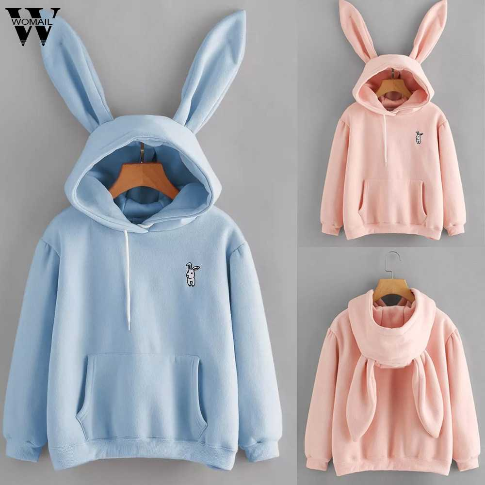 Womail Sweatshirts Women's Fashion Animal Embroidery Pullover autumn Long Sleeve Rabbit Hoodie women Sweatshirt Sudadera S-XL