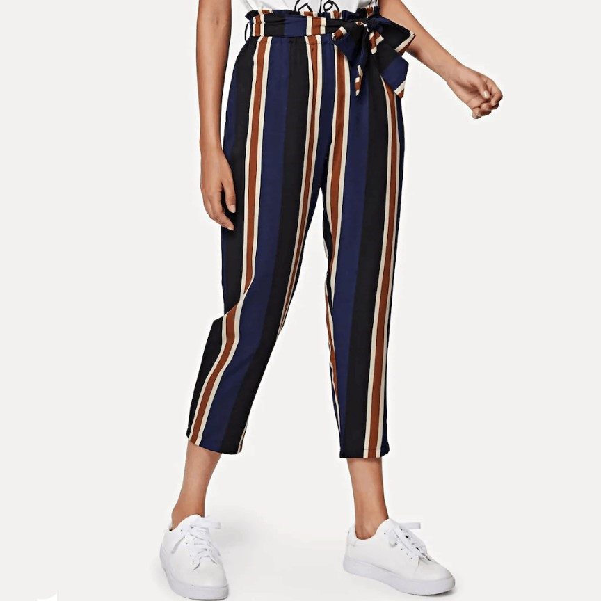 AliExpress Amazon Wish Foreign Trade Hot Selling Stripes Straight-leg   Pants   Women's Europe And America Summer   Capri   Casual   Pants