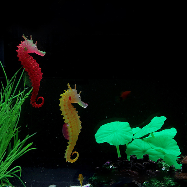 1pc Silicone Artificial Night Luminous Hippocampus Fish Tank Aquarium Ornament Underwater Sea Horse Decoration Pet Supplies 2