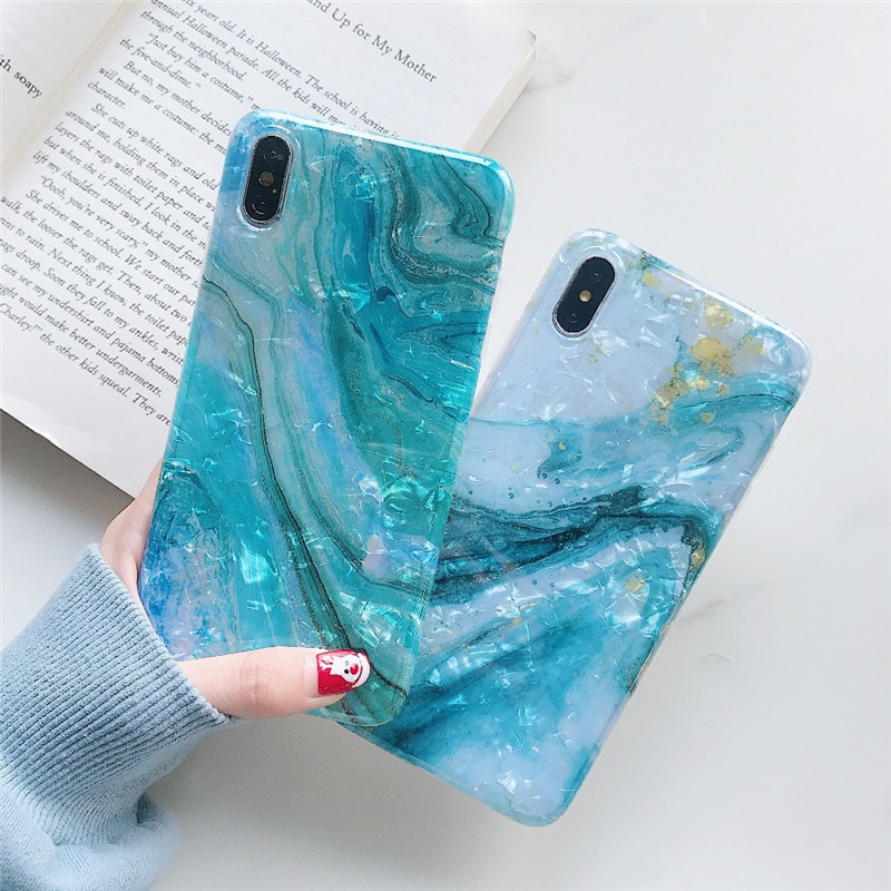 Glitter Marble Case For iphone 7 XR XS MAX Soft TPU Back Cover 6 6S 8 Plus X Phone