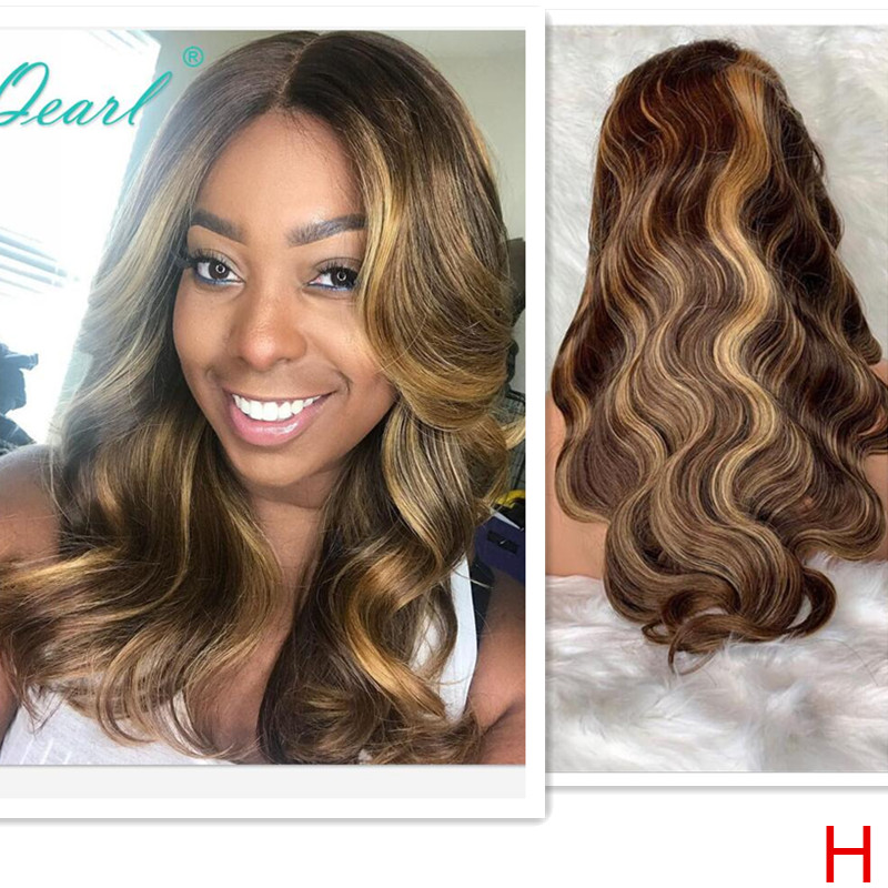 Full Lace Human Hair Wigs Ombre Blonde Highlights Color Peruvian Body Wave Remy Hair Full Lace Wig 130% 150% Qearl