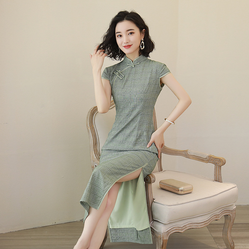 2020 Summer New Chinese Style Traditional Long Section Cheongsam Fashion Show Dresses Tencel Stretch Hemp Qipao Women's Clothes