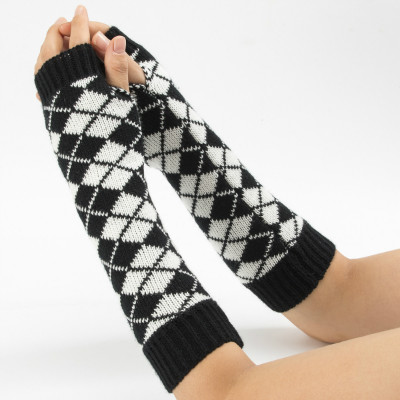 Female Gloves Arm Sleeve For Winter Knitting Rhombus Woolen Blending Keep Warm Women Half Finger Cuff Fashion Colorful