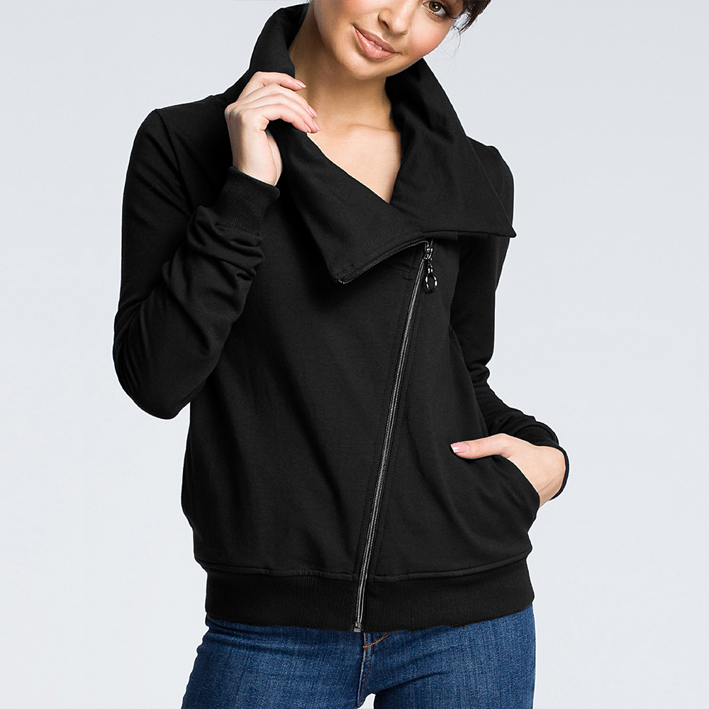 Autumn And Winter New Diagonal Zipper Irregular Neckline Cardigan Women's Sweater Coat Women
