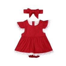 Комплект из 2 предметов, Рождественская Одежда для новорожденных девочек кружевной комбинезон с юбкой-пачкой с рукавами-крылышками, комбинезон с цветочным принтом красного и желтого цвета