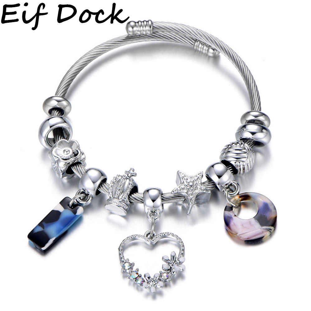 Dropshipping Crystal Flower Heart Charm Bracelet Silver Color Crown Star Beads Brand Bracelets & Bangles Fashion Jewelry Gift