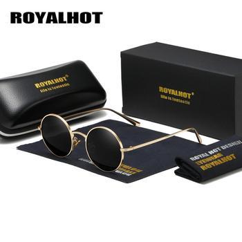 RoyalHot Vintage Round Polarized Sunglasses Men Brand Designer Fashion Sun Glasses Women Metal Frame Resin Lens Eyewear UV400
