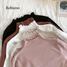 Turtleneck Ruched Women Sweater High Elastic Solid 2019 Fall Winter Fashion Slim Sexy Knitted Pullovers Pink White
