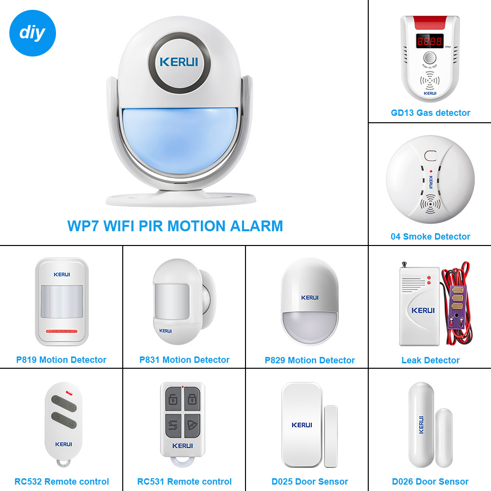 KERUI – système d'alarme de sécurité pour maison connectée WP71, wi-fi, capteur de mouvement PIR, sirène sans fil 120db