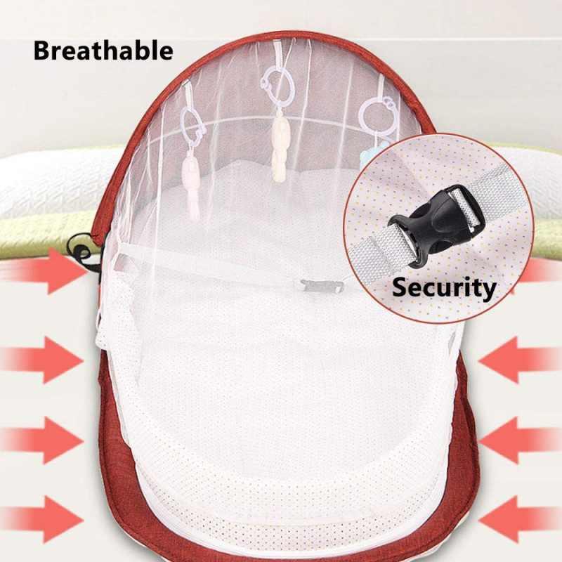 Cama do bebê viagem de proteção solar mosquiteiro net com berço portátil bebê dobrável respirável infantil cesta de dormir com brinquedos