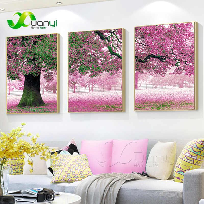 3 パネル現代花ツリー風景キャンバス絵画家の装飾リビングルームのためにポスターやプリント非フレーム