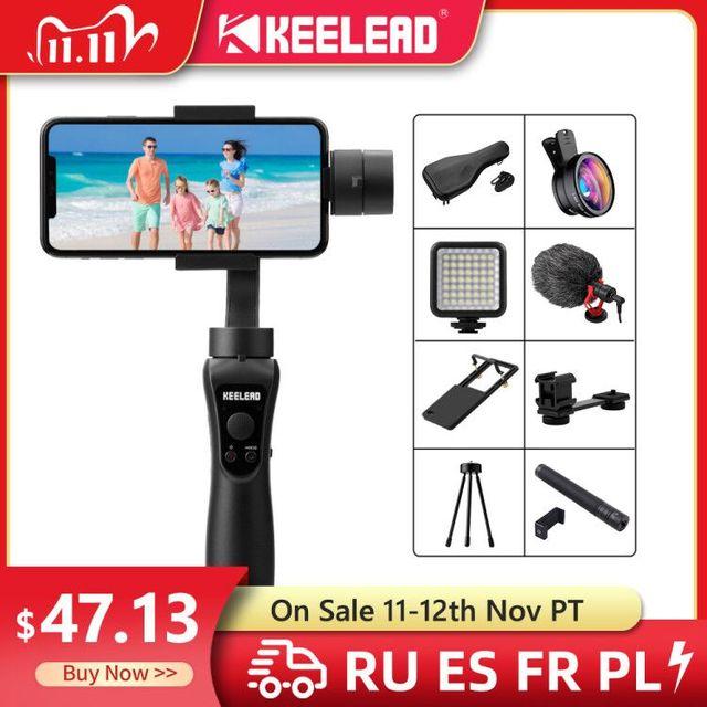 Keelead 3 Axis Handheld Gimbal Stabilizer Voor Smartphone Actie Camera Video Record Tik Youtube Tiktok Tok Vlog Live