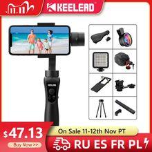 Keelead 3軸ハンドヘルドジンフォーカス & ズームスマートフォン携帯電話アクションカメラビデオ録画vlogライブ
