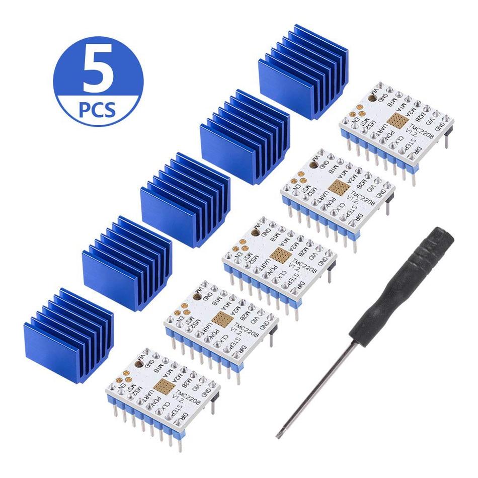 5 pièces TMC2208 V1.2 moteur pas à pas pilote dissipateur thermique pour imprimante 3D contrôleur cartes mères Reprap Ramps1.4 MKS Prusa i3 Ender-3 Pro